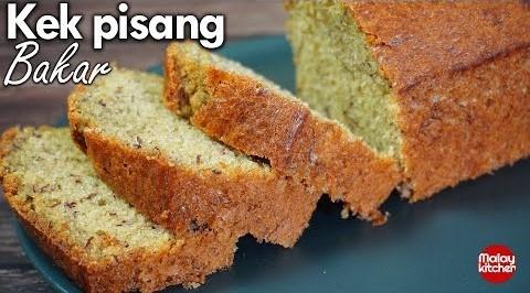 kek pisang bakar sukatan cawan