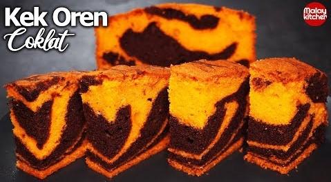 Kek marble oren coklat | Resepi Mudah dan Gebu