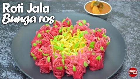 Roti jala bunga rose | sedap lembut | sukatan cawan